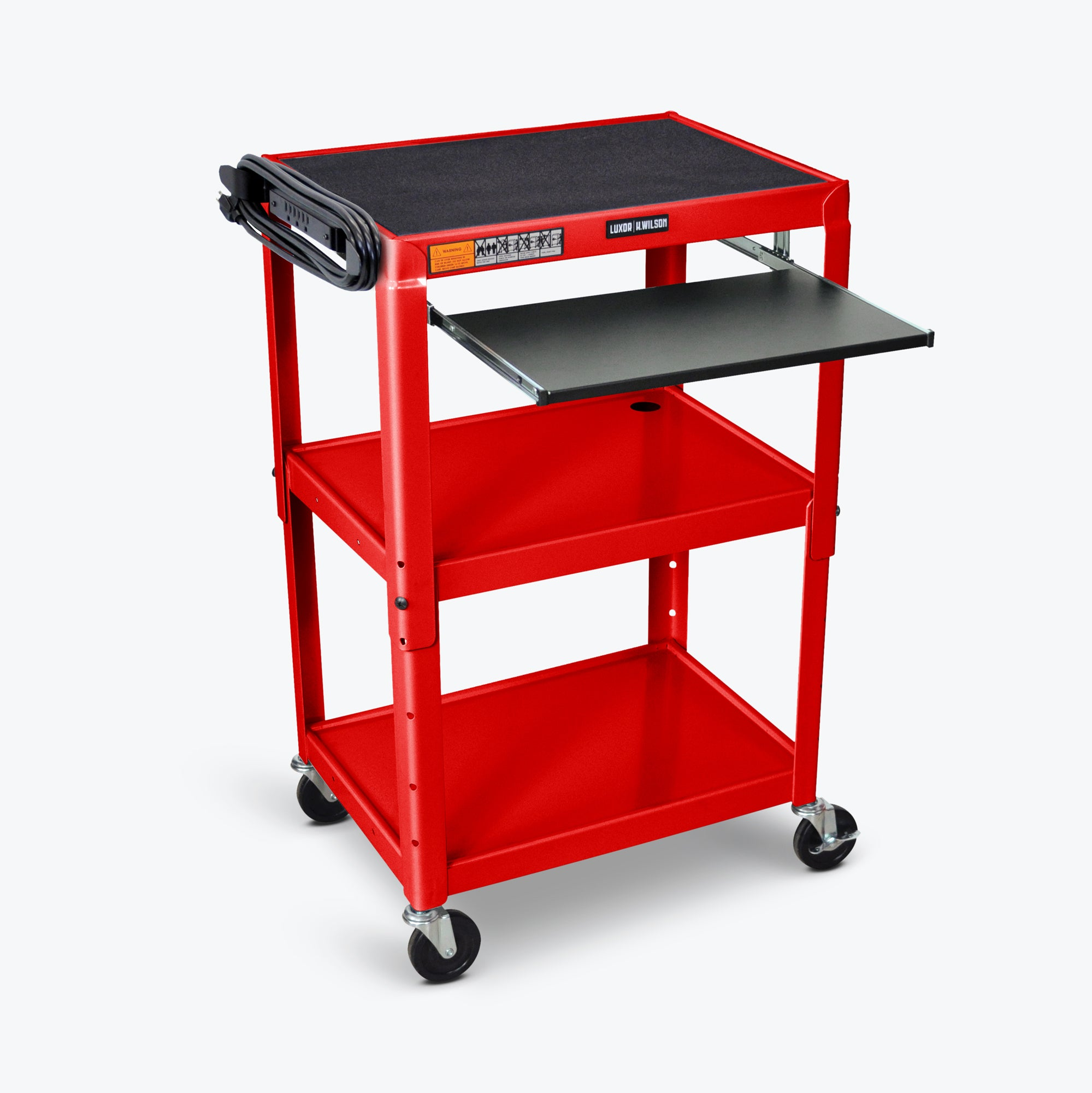 "Luxor Adjustable Height Metal AV Cart w/ Pullout Keyboard Tray 24""W x 18""D x 24"" to 42""H (Red) - AVJ42KB-RD"