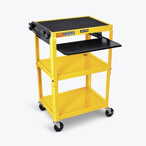 "Luxor Adjustable Height Metal AV Cart w/ Pullout Keyboard Tray 24""W x 18""D x 24"" to 42""H (Yellow) - AVJ42KB-YW"