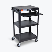 "Luxor Adjustable Height Metal AV Cart w/ Pullout Keyboard Tray 24""W x 18""D x 24"" to 42""H (Black) - AVJ42KB"