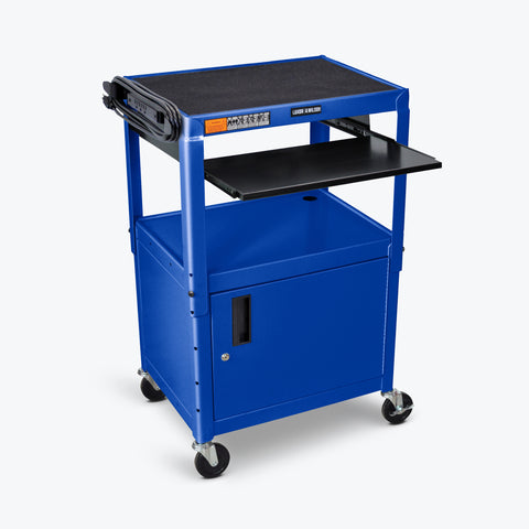 "Luxor Adjustable Height Metal AV Cart w/ Pullout Keyboard Tray & Cabinet 24""W x 18""D x 24"" to 42""H (Royal Blue) - AVJ42KBC-RB"