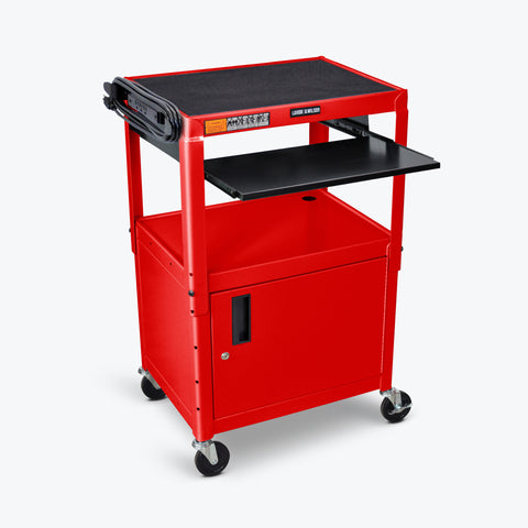 "Luxor Adjustable Height Metal AV Cart w/ Pullout Keyboard Tray & Cabinet 24""W x 18""D x 24"" to 42""H (Red) - AVJ42KBC-RD"