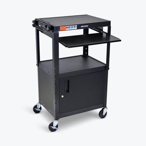 "Luxor Adjustable Height Metal AV Cart w/ Pullout Keyboard Tray & Cabinet 24""W x 18""D x 24"" to 42""H (Black) - AVJ42KBC"