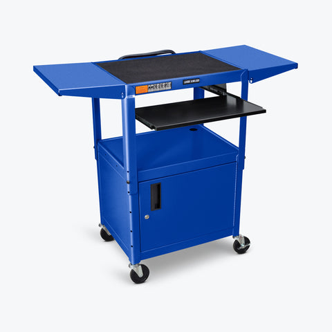 "Luxor Adjustable Height Metal AV Cart w/ Pullout Keyboard Tray, Cabinet & 2 Drop Leaf Shelves 24""W x 18""D x 24"" to 42""H (Royal Blue) - AVJ42KBCDL-RB"