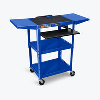 "Luxor Adjustable Height Metal AV Cart w/ Pullout Keyboard Tray & 2 Drop Leaf Shelves 24""W x 18""D x 24"" to 42""H (Royal Blue) - AVJ42KBDL-RB"