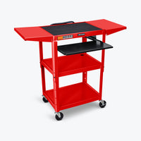 "Luxor Adjustable Height Metal AV Cart w/ Pullout Keyboard Tray & 2 Drop Leaf Shelves 24""W x 18""D x 24"" to 42""H (Red) - AVJ42KBDL-RD"