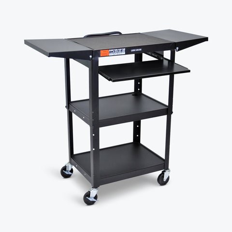"Luxor Adjustable Height Metal AV Cart w/ Pullout Keyboard Tray & 2 Drop Leaf Shelves 24""W x 18""D x 24"" to 42""H (Black) - AVJ42KBDL"