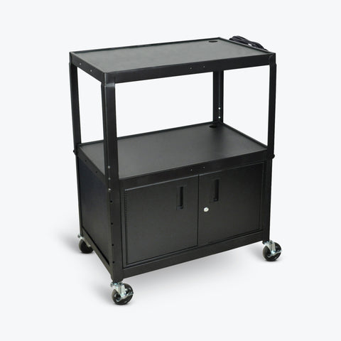 "Luxor Extra Wide Steel Adjustable Height AV Cart w/ Cabinet 32""W x 20""D x 24"" to 42H (Black) - AVJ42XLC"