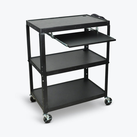 "Luxor Extra Large Adjustable Height Steel AV Cart w/ Pullout Keyboard Shelf 32""W x 20""D x 24"" to 42""H (Black) - AVJ42XLKB"