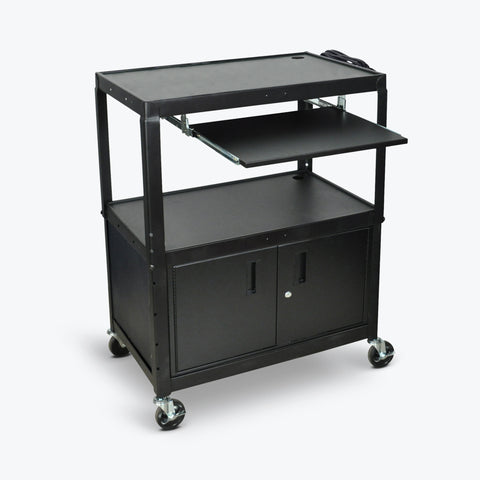 "Luxor Extra Large Adjustable Height Steel AV Cart w/ Keyboard Shelf & Cabinet 32""W x 20""D x 24"" to 42""H (Black) - AVJ42XLKBC"