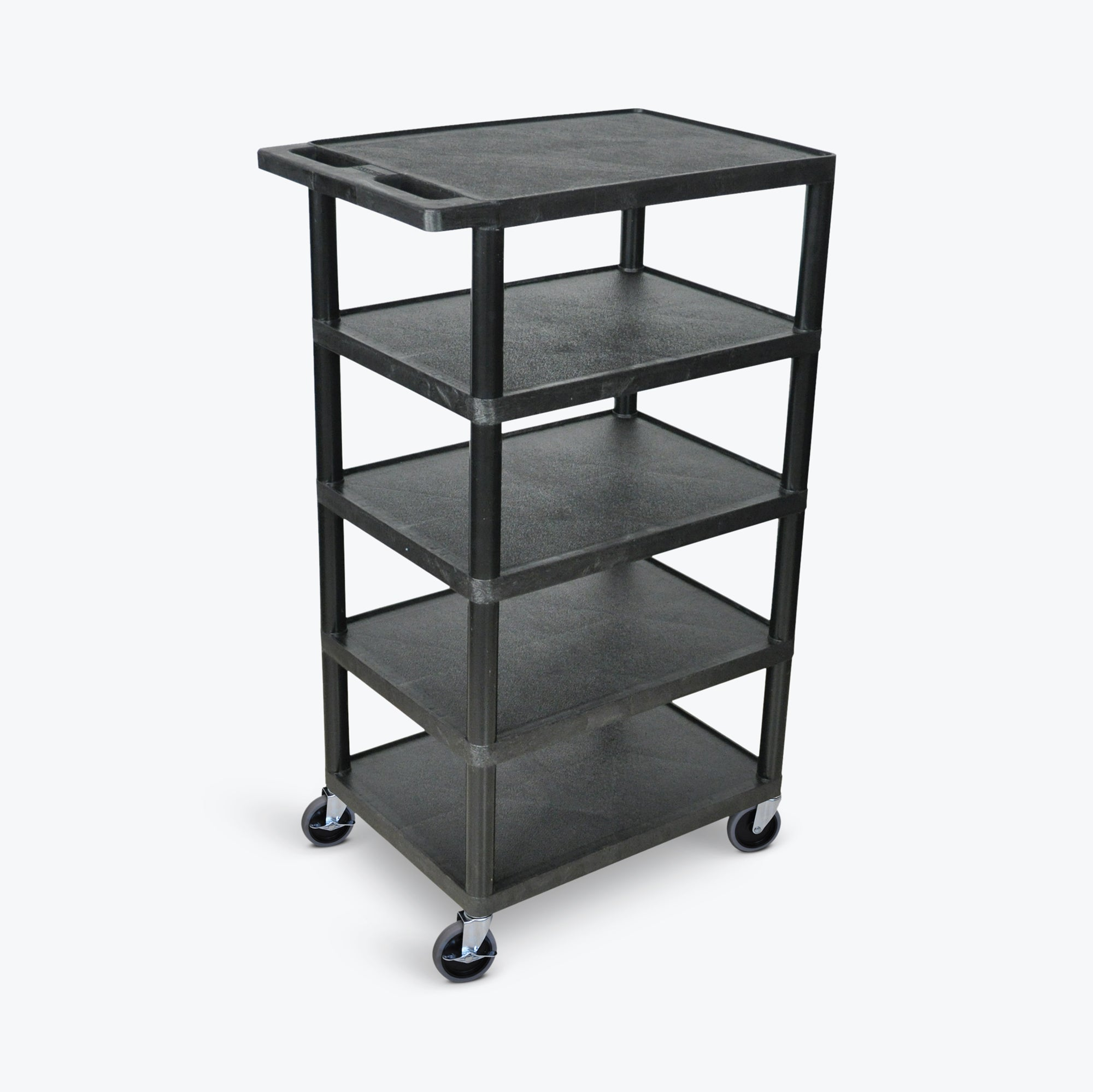 "Luxor 5-Flat Shelf Utility Cart 24""W x 18""D x 46""H (Black) - BC50-B"