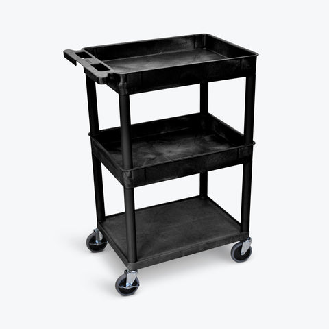 "Luxor 24""W x 18""D 3-Shelf Tub Cart with Flat Bottom, Tub Top and Middle (Black) - STC112-B"