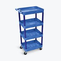 "Luxor 4-Tub Shelf Cart 24""W x 18""D x 44.75""H (Blue) - BUSTC1111BU"