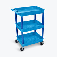 "Luxor 3-Tub Shelf Cart 24""W x18""D x 39.25""H (Blue) - BUSTC111BU"