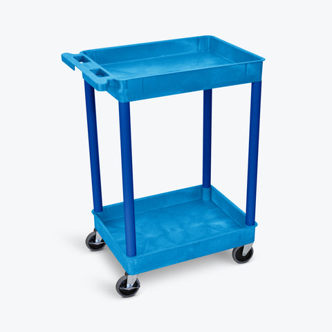"Luxor 2-Tub Shelf Cart 24""W x18""D x 37.5""H (Blue) - BUSTC11BU"