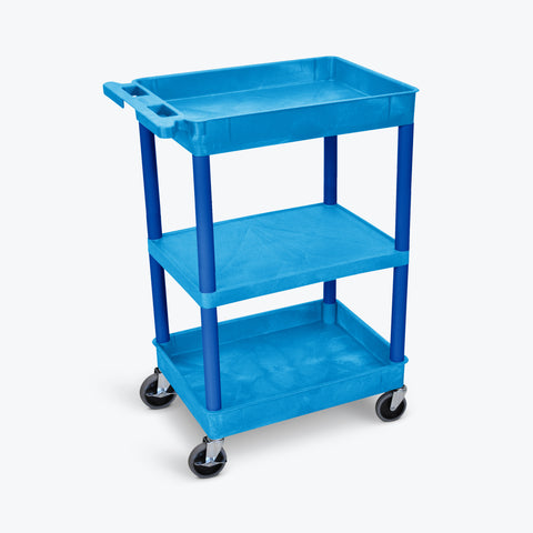 "Luxor Top/Bottom-Tub Flat-Middle Shelf Cart 24""W x 18""D x 36.5""H (Blue) - BUSTC121BU"