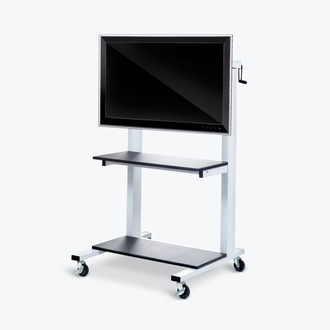 "Luxor Crank-Adjustable TV Cart 30""W x 29.5""D x 50.5"" to 66.25""H (Gray) - CLCD"