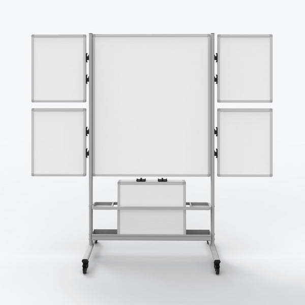 "Luxor Mobile Collaboration Station Whiteboard w/ 4 Small Attachable Boards 82.25""W x 23.7""D x 76.4""H (White) - COLLAB-STATION"