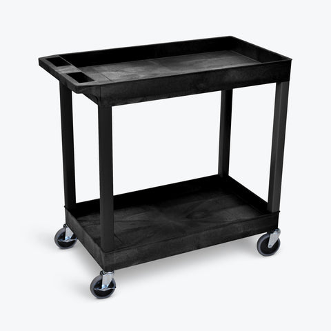 "Luxor 18"" x 32"" 2-Tub Heavy-Duty Shelf Cart 32""W x 18""D x 34.25""H (Black) - EC11-B"