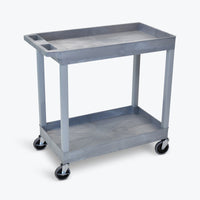 "Luxor 18"" x 32"" 2-Tub Shelf Cart 32""W x 18""D x 34.25""H (Gray) - EC11-G"