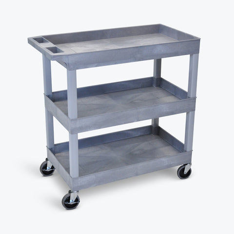 "Luxor 3-Tub Shelf Cart 32""W x 18""D x 36.25""H (Gray) - EC111-G"