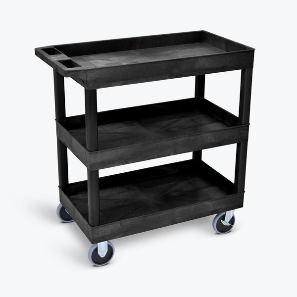"Luxor 3-Tub Heavy-Duty Shelf Cart 32""W x 18""D x 37.25""H (Black) - EC111HD-B"