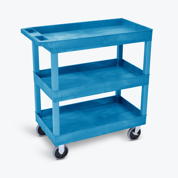 "Luxor 3-Tub Heavy-Duty Shelf Cart 32""W x 18""D x 37.25""H (Blue) - EC111HD-BU"