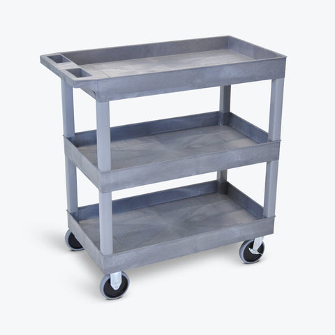 "Luxor 18"" x 32"" 3-Shelf Tub Cart 35.25""W x 18""D x 36.25""H (Gray) - EC111HD-G"