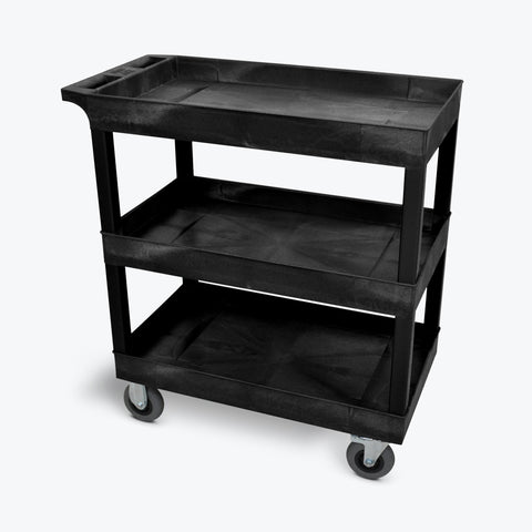 "Luxor 18"" x 32"" 3-Tub Semi-Pneumatic Shelf Cart 32""W x 18""D x 37.25""H (Black) - EC111SP5-B"