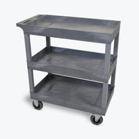 "Luxor 18"" x 32"" 3-Tub Semi-Pneumatic Shelf Cart 32""W x 18""D x 37.25""H (Gray) - EC111SP5-G"