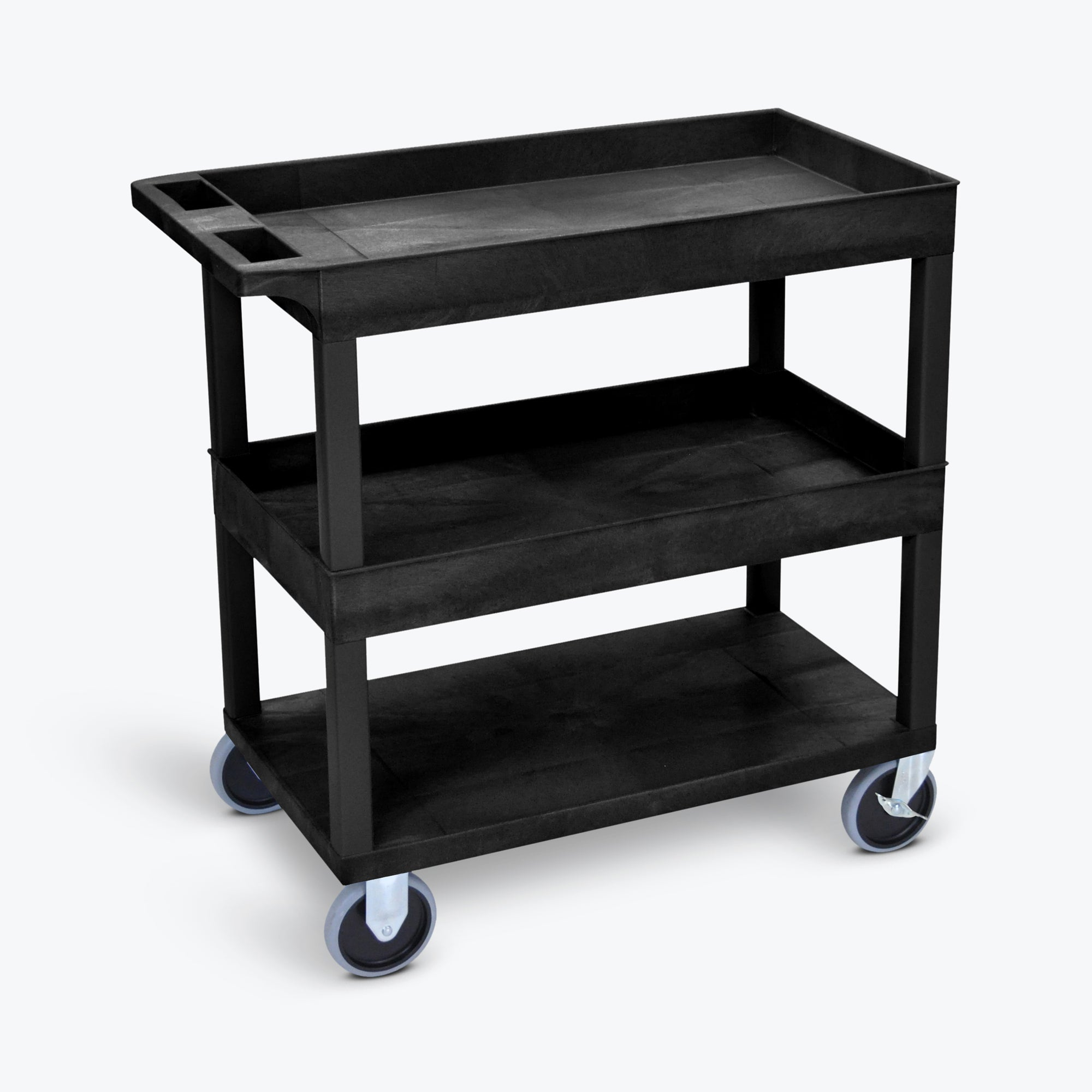 "Luxor 18"" x 32"" 2-Tub/1-Flat Heavy-Duty Shelf Cart w/ 5"" Heavy-Duty Casters 32""W x 18""D x 37.25""H (Black) - EC112HD-B"