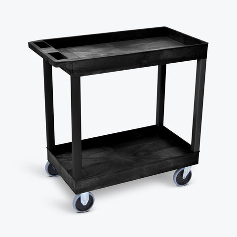 "Luxor 18"" x 32"" 2-Tub Heavy-Duty Shelf Cart 32""W x 18""D x 35.25""H (Black) - EC11HD-B"