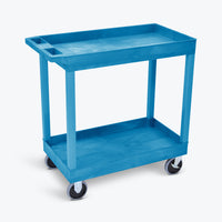 "Luxor 18"" x 32"" 2-Tub Heavy-Duty Shelf Cart 32""W x 18""D x 35.25""H (Blue) - EC11HD-BU"