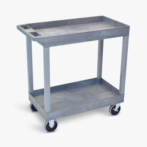 "Luxor 18"" x 32"" 2-Tub Shelf Heavy-Duty Cart 32""W x 18""D x 35.25""H (Gray) - EC11HD-G"