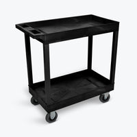 "Luxor 18"" x 32"" 2-Tub Cart w/ 5"" Semi-Pneumatic Casters 32""W x 18""D x 35.25""H (Black) - EC11SP5-B"