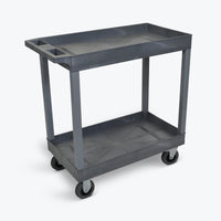 "Luxor 18"" x 32"" 2-Tub Cart w/ 5"" Semi-Pneumatic Casters 32""W x 18""D x 35.25""H (Gray) - EC11SP5-G"