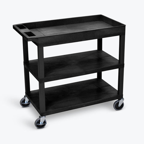 "Luxor 18"" x 32"" 2-Flat/1-Tub Shelf Cart 32""W x 18""D x 34.5""H (Black) - EC122-B"