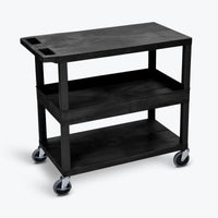 "Luxor 18"" x 32"" 2-Flat/1-Tub Shelf Cart 32""W x 18""D x 34.5""H (Black) - EC212-B"