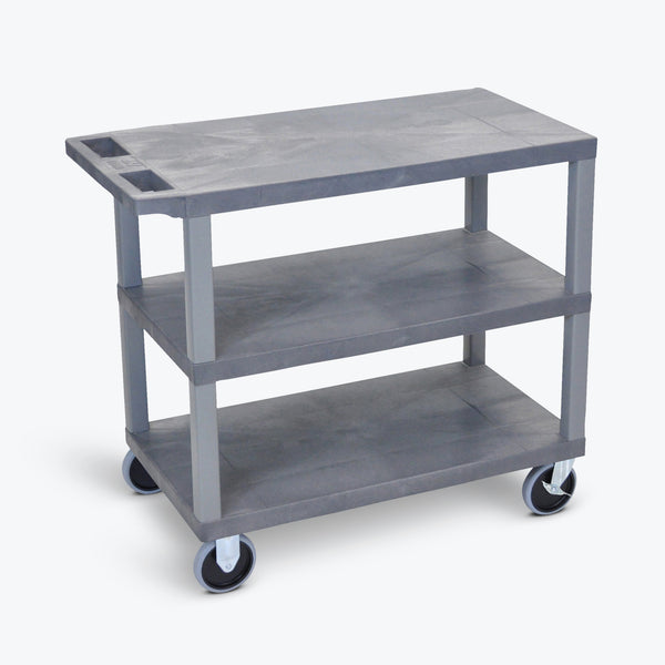 "Luxor 18"" x 32"" 3-Flat Shelf Cart 32""W x 18""D x 35.5""H (Gray) - EC222HD-G"