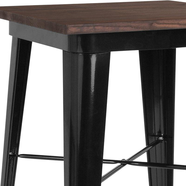 "Flash Furniture 23.5"" Square Black Metal Indoor Bar Height Table with Walnut Rustic Wood Top - CH-31330-40M1-BK-GG"