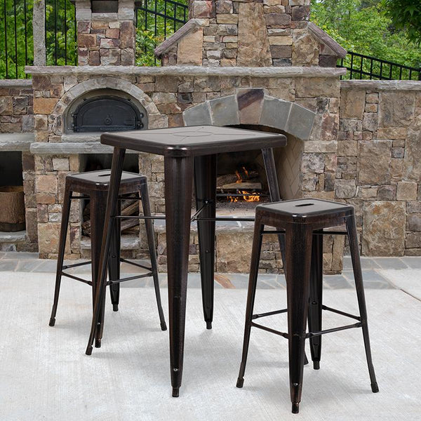 Flash Furniture 23.75'' Square Black-Antique Gold Metal Indoor-Outdoor Bar Table Set with 2 Square Seat Backless Stools - CH-31330B-2-30SQ-BQ-GG