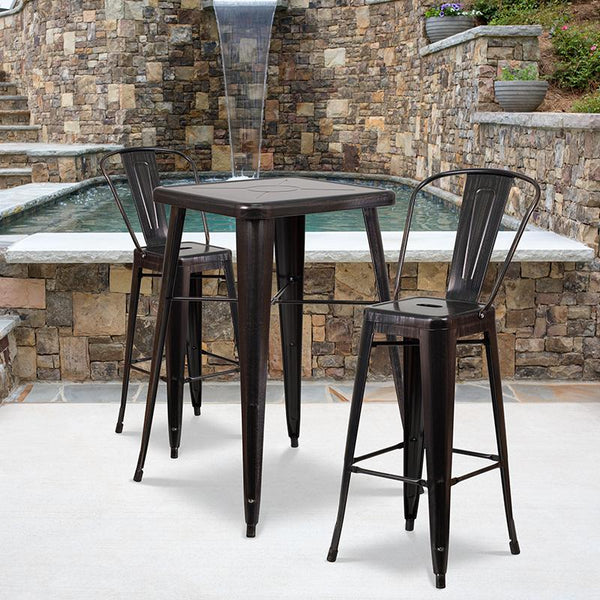 Flash Furniture 23.75'' Square Black-Antique Gold Metal Indoor-Outdoor Bar Table Set with 2 Stools with Backs - CH-31330B-2-30GB-BQ-GG