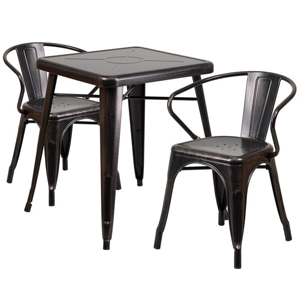 Flash Furniture 23.75'' Square Black-Antique Gold Metal Indoor-Outdoor Table Set with 2 Arm Chairs - CH-31330-2-70-BQ-GG