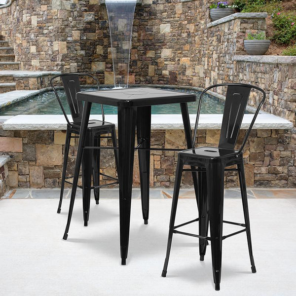 Flash Furniture 23.75'' Square Black Metal Indoor-Outdoor Bar Table Set with 2 Stools with Backs - CH-31330B-2-30GB-BK-GG