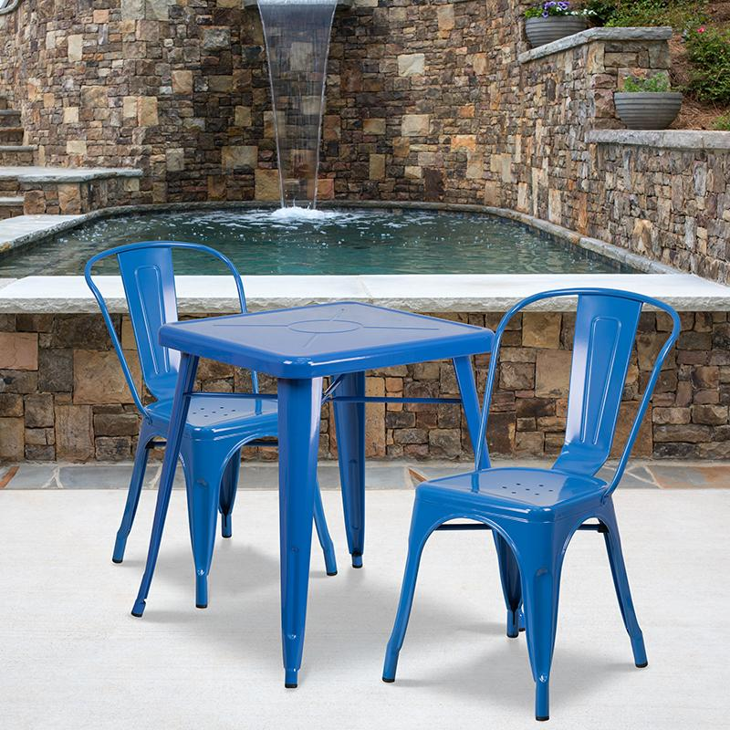Flash Furniture 23.75'' Square Blue Metal Indoor-Outdoor Table Set with 2 Stack Chairs - CH-31330-2-30-BL-GG