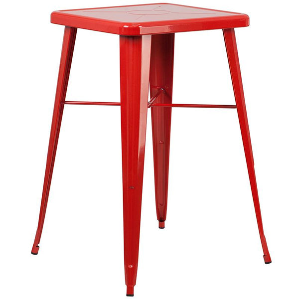 Flash Furniture 23.75'' Square Red Metal Indoor-Outdoor Bar Table Set with 2 Square Seat Backless Stools - CH-31330B-2-30SQ-RED-GG