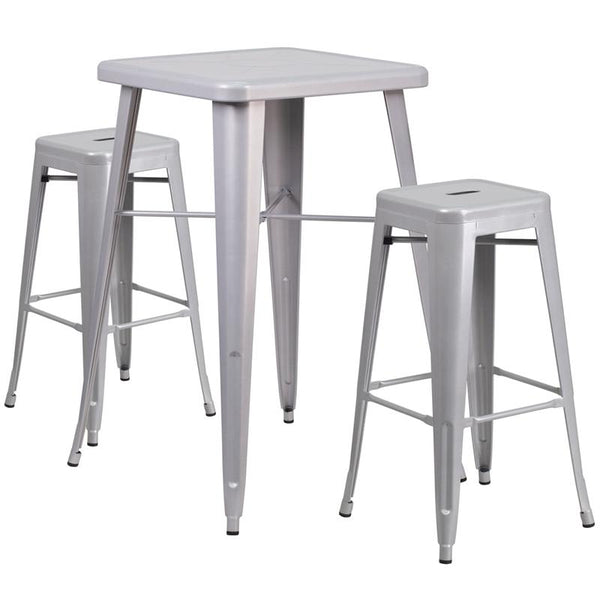 Flash Furniture 23.75'' Square Silver Metal Indoor-Outdoor Bar Table Set with 2 Square Seat Backless Stools - CH-31330B-2-30SQ-SIL-GG
