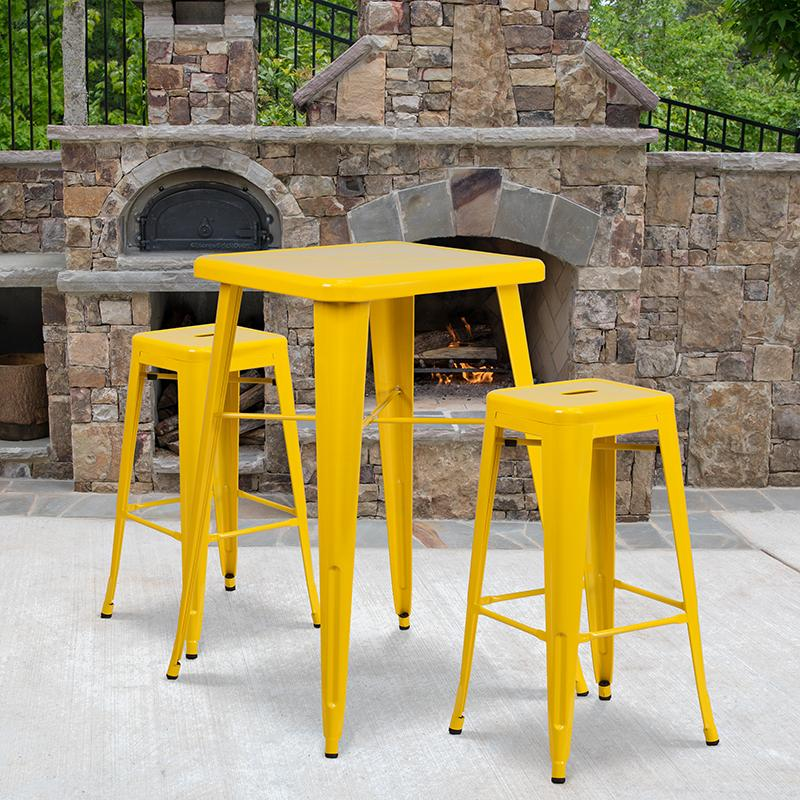 Flash Furniture 23.75'' Square Yellow Metal Indoor-Outdoor Bar Table Set with 2 Square Seat Backless Stools - CH-31330B-2-30SQ-YL-GG