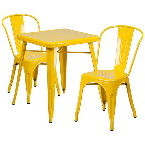 Flash Furniture 23.75'' Square Yellow Metal Indoor-Outdoor Table Set with 2 Stack Chairs - CH-31330-2-30-YL-GG