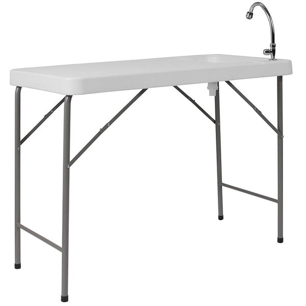 Flash Furniture 23''W x 45''L Granite White Plastic Folding Table with Sink - DAD-PYZ-116-GG
