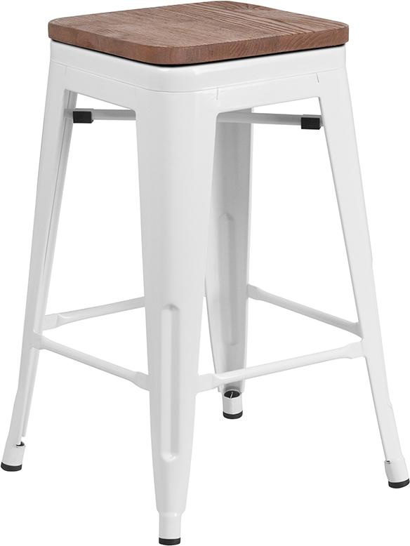 "Flash Furniture 24"" High Backless White Metal Counter Height Stool with Square Wood Seat - CH-31320-24-WH-WD-GG"